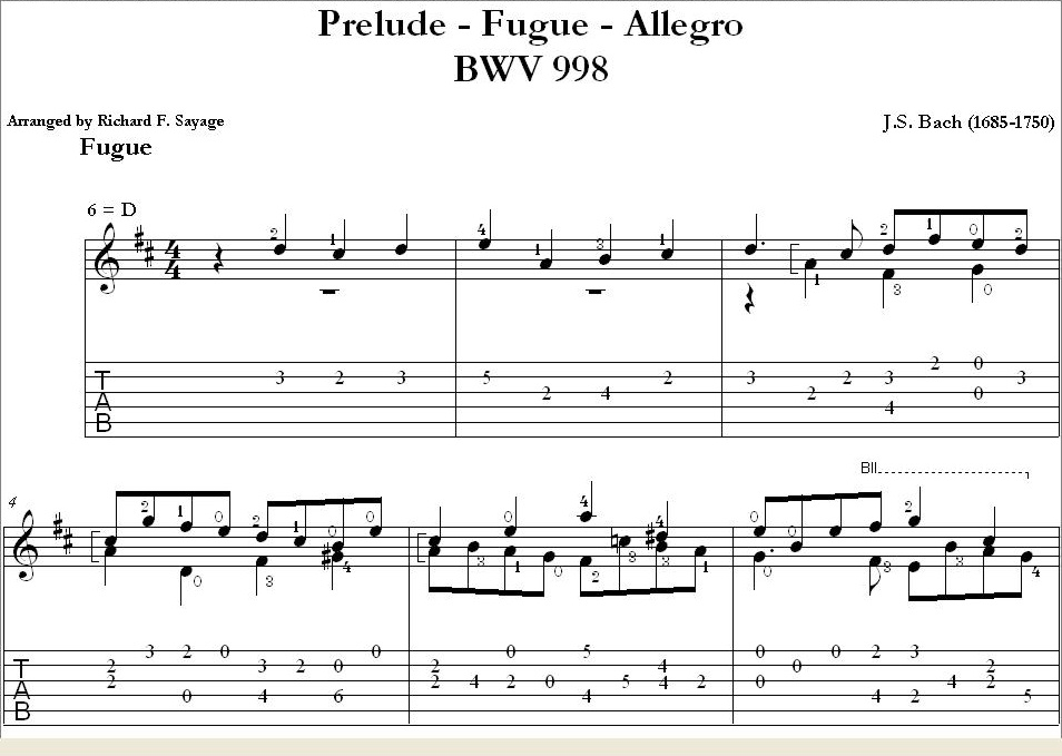 Bach - Prelude Fugue u0026 Allegro BWV 998 with TAB Notation : Savage Classical Guitar