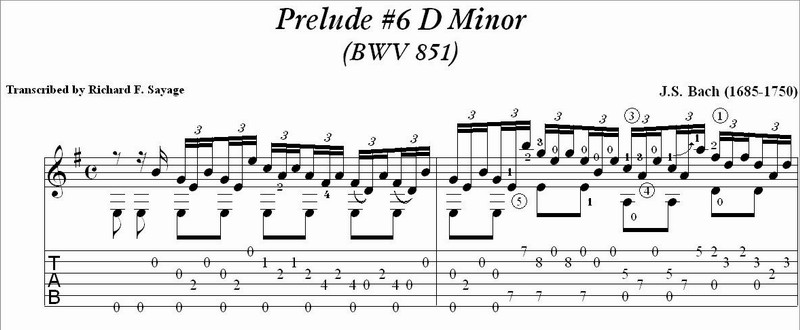Bach - Well Tempered Clavier Book 1-A with TAB Notation